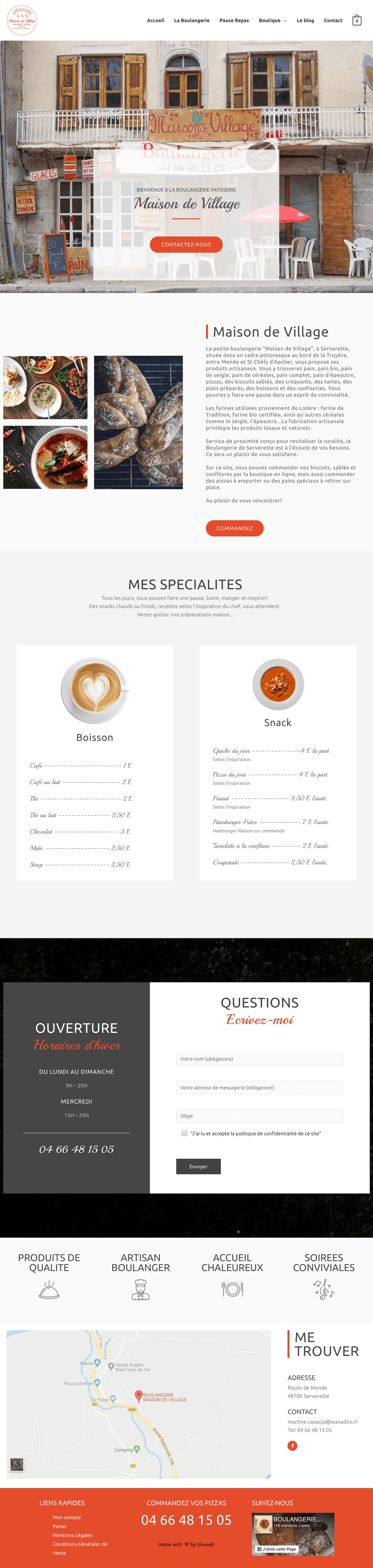 Refonte du site web de la boulangerie pâtisserie Maison de Village à Serverette