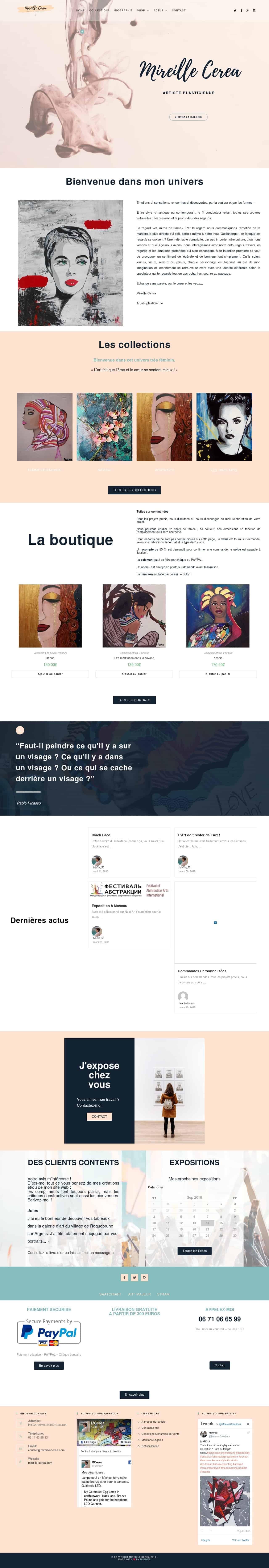 Refonte du site web de l'artiste Mireille Cerea par Uluweb
