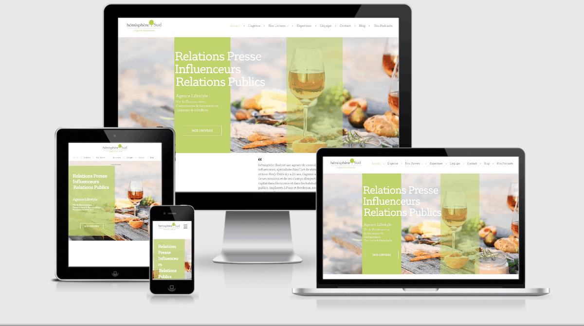 Site web hémisphère Sud Bordeaux réalisé par Uluweb et Pdk Communication